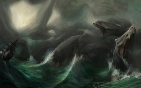 Picture The ocean, Sea, Wave, Ship, Storm, Monster, Hydra, Francesco Lorenzetti, by Francesco Lorenzetti, Lernaean Hydra, …
