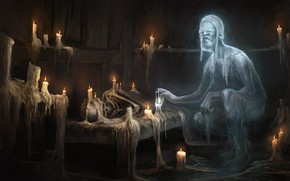 Picture room, candles, Ghost, the elder