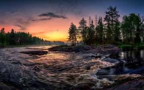 Wallpaper sunset, forest, river