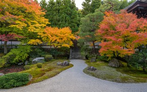 Picture Nature, Autumn, The fence, Japan, Garden, Gate, Temple, Park