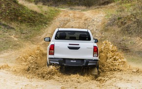Picture white, water, squirt, Toyota, rear view, pickup, Hilux, Special Edition, 2019