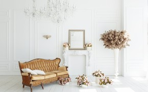 Picture flowers, room, sofa, fireplace, vintage, design, pink, flowers, peonies, room, interior, sofa, fireplace, peonies, provance