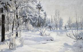 Picture snow, winter nature, 1918, WINTER LANDSCAPE, Andrei Nikolaevich Shilder