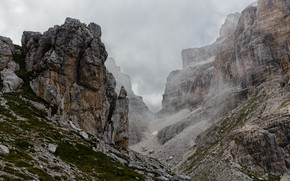 Picture the sky, clouds, mountains, clouds, nature, fog, stones, overcast, rocks, Italy, Brenta group