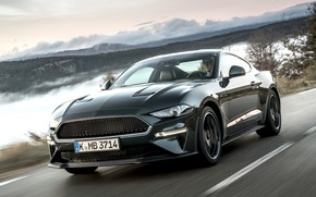 Picture Mustang, Ford, mountain road, 2018, Bullitt, fastback