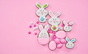 Picture background, pink, cookies, Easter, figures