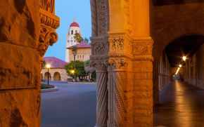 Picture CA, arch, California, Stanford, corridor, Stanford University, Stanford, Stanford University, Hoover Tower, Hoover tower