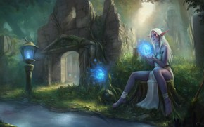 Picture forest, girl, elf, World of Warcraft, Warcraft, wow, art