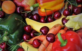 Picture red, cherry, green, berries, Apple, food, bananas, pepper, fruit, apricot, vegetables, carrots, peach, a lot, …