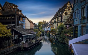 Picture the city, France, home, morning, channel, Colmar