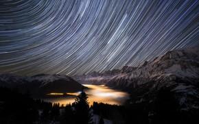 Wallpaper mountains, night, stars