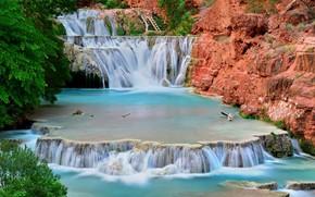 Picture AZ, USA, cascade, National Park Grand Canyon, Havasu Creek, waterfall beaver