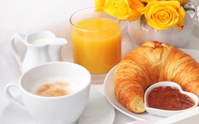 Picture coffee, roses, Breakfast, croissant