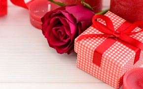Picture love, gift, roses, candles, red, red, love, flowers, romantic, hearts, valentine's day, roses, gift box