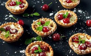 Picture cherry, cream, cake, cream, tartlets