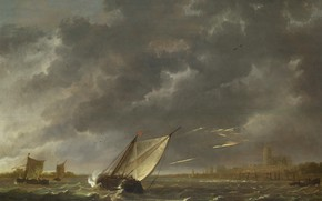 """Picture picture, """"Maas"""" in Dordrecht in a storm, Aelbert Cuyp, The Albert Cuyp, sail, landscape"""
