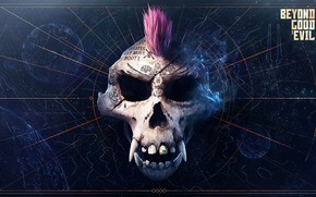 Picture monkey, tatoo, map, scull, dark background, Beyond Good & Evil 2, mohawk