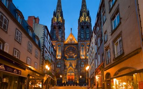 Picture the city, street, home, the evening, Cathedral, Clermont-Ferrand, Puy-De-Dome Department