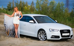 Picture Audi, Girls, beautiful girl, white car, posing on the car