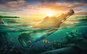 Picture sea, fish, garbage, the ocean, bottle, pollution, sea, ocean, fish, bottle