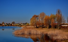 Picture landscape, lake, dawn, village