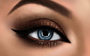 Picture girl, face, eyes, makeup