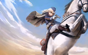 Picture girl, weapons, horse