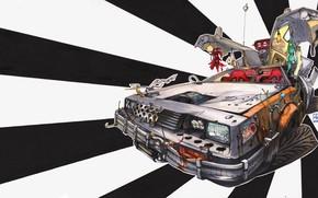 Picture Figure, Machine, DeLorean DMC-12, Art, DMC-12, Illustration, Delorean, Back to the future, Transport & Vehicles, …