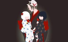 Picture children, girls, the demon, mask, Hoozuki no Reitetsu, Hozuki, Cold-Blooded Hozuki