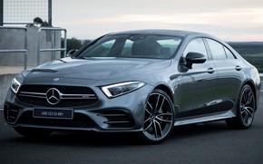 Picture car, machine, grey, lights, Mercedes-Benz, Mercedes, car, drives, front, side, AMG, grey, Mercedes-AMG CLS 53, …