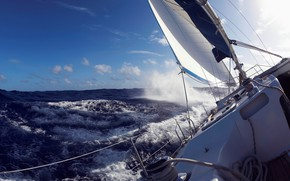 Picture sea, wave, storm, yacht, sail