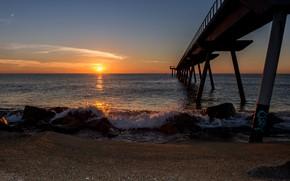 Picture sand, sea, beach, the sky, the sun, sunset, stones, coast, horizon, pierce, Spain, Barcelona