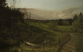 Picture Nature, Road, Figure, Trees, Forest, House, Picture, Landscape, Painting, Michael Handt, by Michael Handt, Ranging …