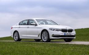 Picture white, the sky, grass, BMW, sedan, hybrid, 5, four-door, 2017, 5-series, G30, 530e iPerformance