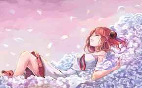 Picture girl, flowers, sleeping