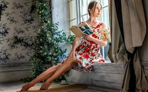 Picture girl, pose, photo, room, dress, window, book, legs, beautiful, Evan Semuta