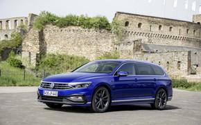Picture blue, Volkswagen, fortress, universal, Passat, R-Line, Variant, 2019