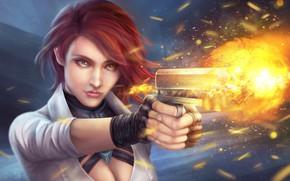 Picture girl, gun, fire