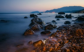 Picture sea, landscape, sunset, mountains, nature, stones, shore, the evening, Crimea, beam, Sotera