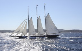 Picture ship, sails, The Mediterranean sea, Atlantic, Three-mast Schooner During The Voiles De St Tropez, Трехмачтовый …