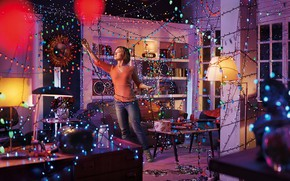 Picture woman, furniture, garland, the room, equipment