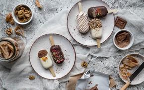 Picture chocolate, ice cream, nuts, still life, dessert, candied, gauze, Anna Chernyakova