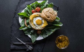 Picture greens, egg, tomatoes, bun with sesame seeds