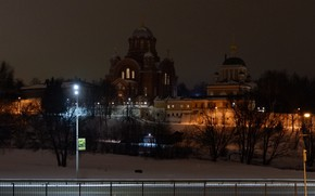 Picture winter, snow, night, river, lights, the monastery, women's