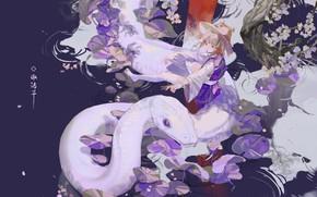 Picture girl, pond, snake, Touhou Project, Suwako Moriya