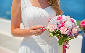 Picture girl, the sun, flowers, roses, bouquet, dress, ring, the bride, in white, wedding, bokeh