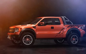 Picture Ford, Auto, Machine, SUV, Rendering, F-150, Side view, Orange Tulip, Transport & Vehicles, by Eric …