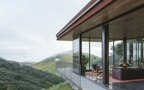 Picture glass, interior, fireplace, living room, Off-Grid Guest House, by Anacapa