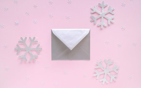Picture winter, snowflakes, holiday, Christmas, New year, pink background, the envelope, Christmas decorations, composition, новогодние декорации