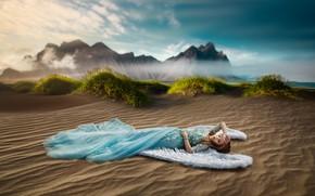 Picture sand, girl, pose, mood, wings, angel, dress, Renat Khismatulin